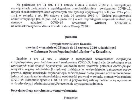 """Decyzja Wojewody z dnia 28.05.2020r w sprawie Dziennego Domu Pogodna Jesień """"Senior +"""""""