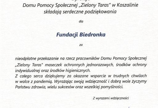 Podziękowanie dla Pana Mariusza Kwiatkowskiego