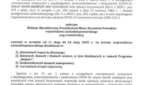 Polecenie Wojewody z dnia 07.05.2020r