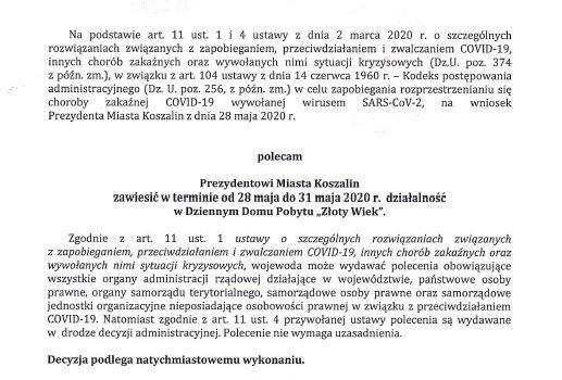 """Decyzja Wojewody z dnia 28.05.2020r w sprawie Dziennego Domu Pobytu """"Złoty Wiek"""""""