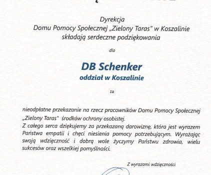 Podziękowanie dla DB Schenker oddział w Koszalinie