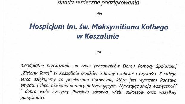Podziękowanie dla Hospicjum im. św. Maksymiliana Kolbego  w Koszalinie