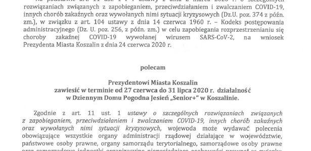"""Decyzja Wojewody z dnia 26.06.2020r w sprawie Dziennego Domu Pogodna Jesień """"Senior +"""""""