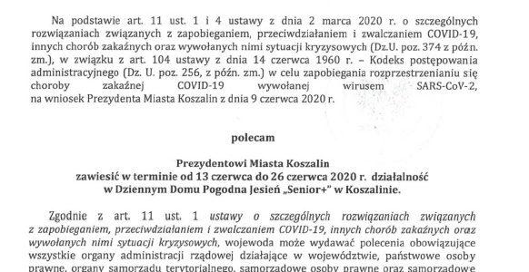 """Decyzja Wojewody z dnia 12.06.2020r w sprawie Dziennego Domu Pogodna Jesień """"Senior +"""""""