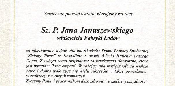 Podziękowania dla Pana Jana Januszewskiego