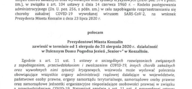 """Decyzja Wojewody z dnia 31.07.2020r. w sprawie Dziennego Domu Pogodna Jesień """"Senior +"""""""
